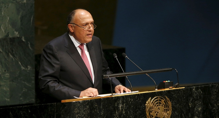 Egypt's Foreign Minister Sameh Shoukry addresses the United Nations about the nuclear nonproliferation treaty at U.N. headquarters in New York.